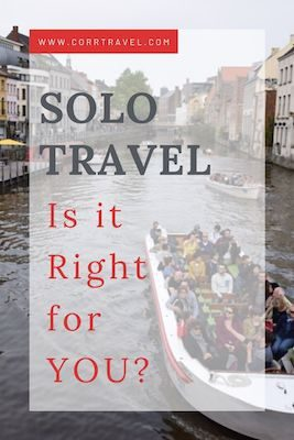 pros and cons of solo travel pinterest image