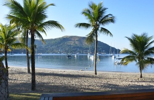 Beach and palm trees at Angra dos Reis, Brazil - a solo trip destination