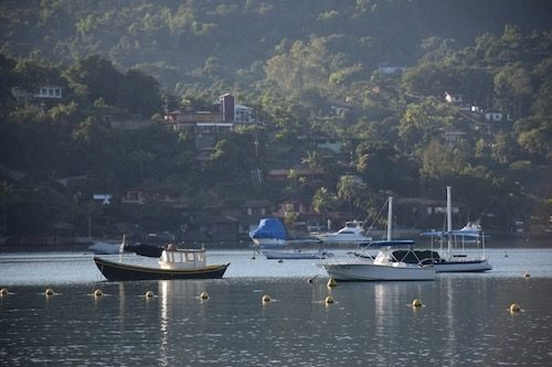 Boats on water at Angra dos Reis, Brazil