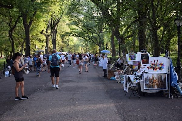 People walking in Central Park New York City