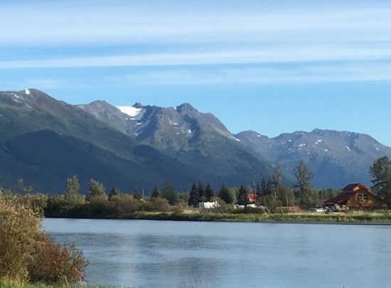 View of mountains from Seward Highway Alaska