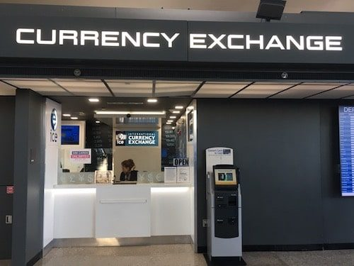 Airport international currency exchange booth at airport