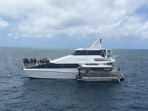 Boat on water at Great Barrier Reef