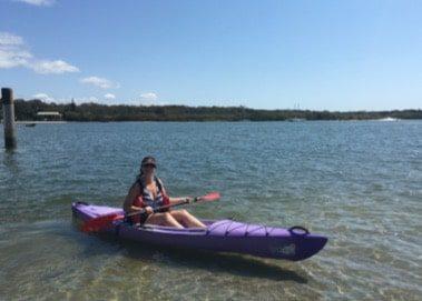 Gwen kayaking in Noosa Australia