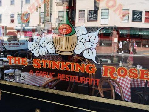 The Stinking Rose window, North Beach San Francisco