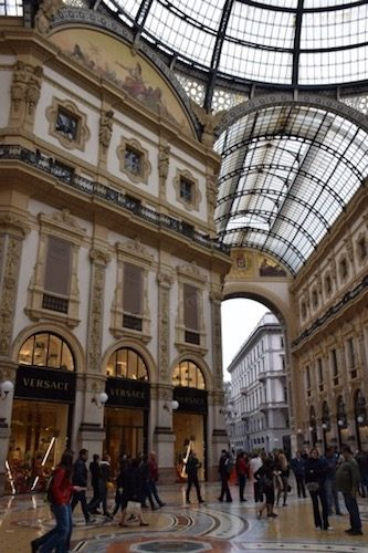 People inside the Galleria Vittorio Emanuele II Milan Italy
