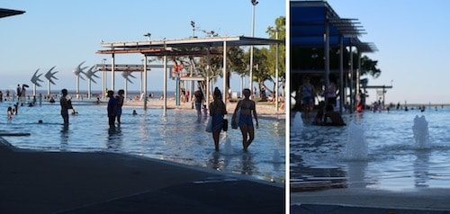 Cairns Lagoon cityscape and people Cairns Australia