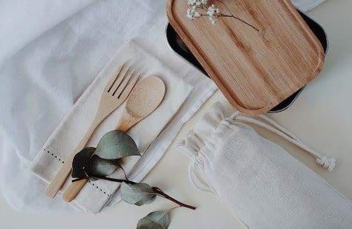 Bamboo utensil set and container