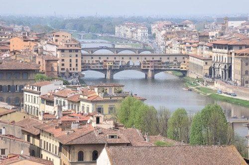 Florence skyline with bridge Italy