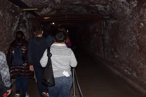 Tourists in Hoover Dam tour tunnel