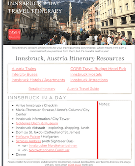Innsbruck 1 Day Travel Itinerary-FREE Printable image