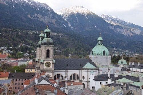 Innsbruck Austria skyline in front of mountains