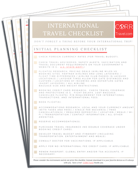 International Travel Checklist-FREE Printable