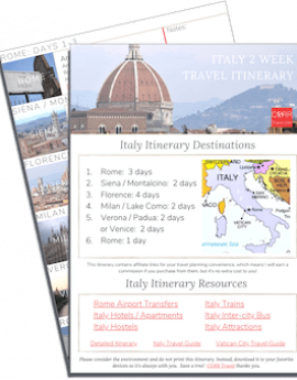 Italy 2 Week Travel Itinerary-FREE Printable images