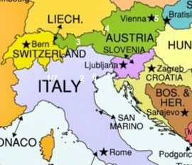 Italy and Austria 2 Week Itinerary map image