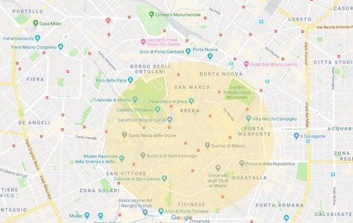 Where to stay in Milan Italy map