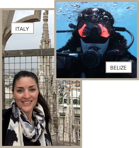 Travel pictures of Corr Travel founder in Italy & Belize