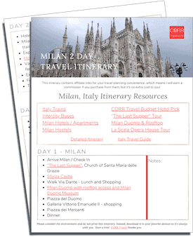 Milan 2 Day Travel Itinerary-FREE Printable images