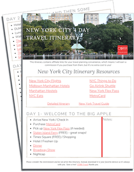 New York City 4 Day Travel Itinerary printable itinerary
