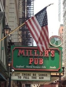American Flag hanging in front of Millers Pub Chicago Illinois