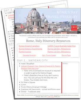 Rome 3 Day Travel Itinerary-FREE Printable images