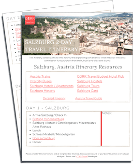 Salzburg 2 Day Travel Itinerary-FREE Printable images