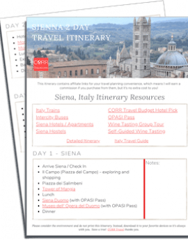 Siena 2 Day Travel Itinerary-FREE Printable images