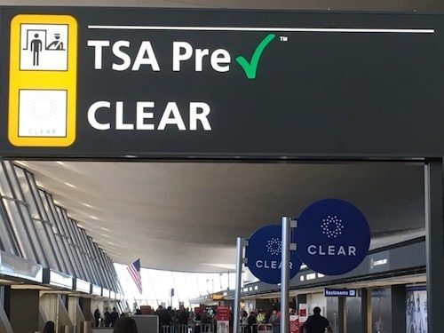 TSA Precheck & Clear sign in airport