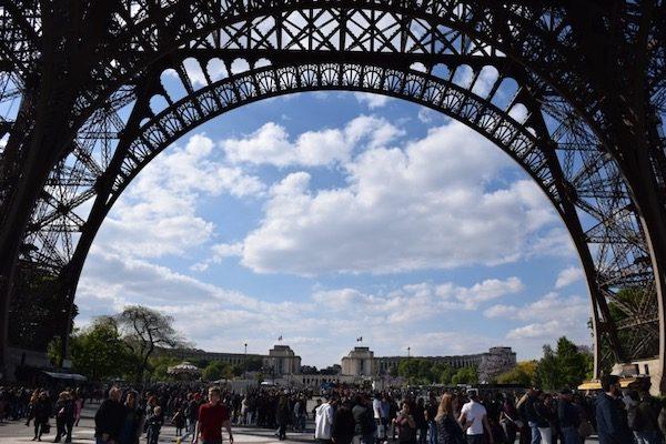 Tourists on Effiel Tower Esplanade Paris