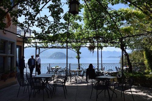 Women in outdoor Varenna cafe Lake Como Italy