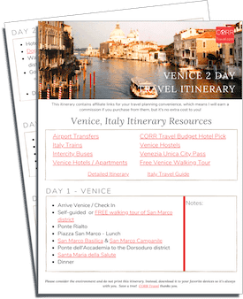 Venice 2 Day Travel Itinerary-FREE Printable images