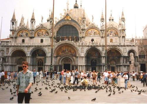 People and pigeons at Piazza San Marco Venice Italy