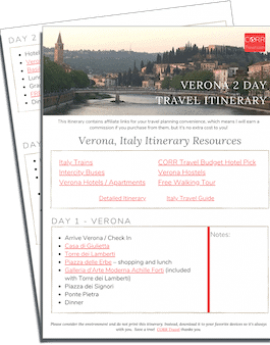 Verona 2 Day Travel Itinerary-FREE Printable images