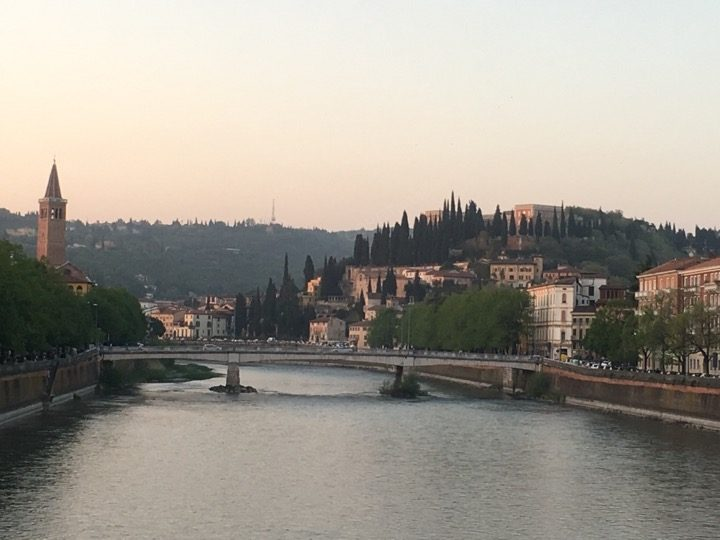 Verona Italy on the river at sunset