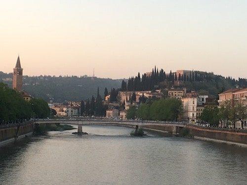 Verona Italy citycscape and bridge at sunset